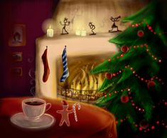 Inspirational showcase of 34 christmas designs Christmas Scenes, Christmas Mood, All Things Christmas, Christmas Tree Ornaments, Xmas, Christmas Coffee, Christmas Party Themes, Holiday Decor, Merry Christmas Everybody