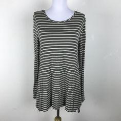 LOGO Lori Goldstein Blouse Size S Gray Striped Long Sleeve Rayon Side Vents Top #LOGObyLoriGoldstein #Blouse