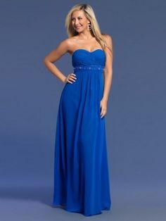 A-Linie Herzform Bodenlänge Chiffon Abendkleid Blau
