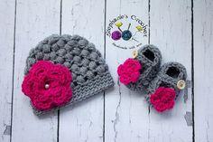 Crochet Newborn baby girl puff stitch hat and by Stephyscrochet, $30.00