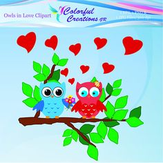 Owls In Love Clipart For Personal And Comercial Use