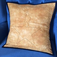 """Big stitch hand-quilted pillow sham inspired by the logo for Broadway's Hamilton, aka """"the ten-dollar Founding Father,"""" 16″ x 16″, 2016 #hamiltonthemusical #fanart"""