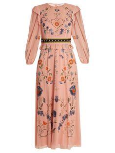 REDValentino Floral-print silk-blend georgette dress