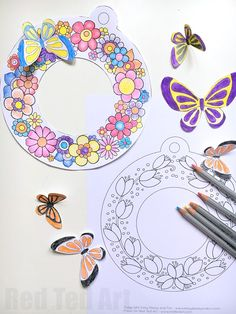 Spring Wreath Coloring Pages - Darling Spring Wreaths for Spring Easter and Mother's Day. How lovely are they? Print color snip add the butterflies and you have a gorgeous design! Easter Crafts, Kids Crafts, Arts And Crafts, Spring Theme, Spring Art, Spring Activities, Craft Activities, Spring Crafts For Kids, Diy For Kids