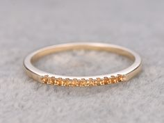 Superb Citrine Wedding Ring k Yellow Gold Thin Pave Eternity Band November Birthstone Ring Stacking