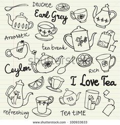 Tea cups and teapots sketchy doodles vector by Ohn Mar, via Shutterstock