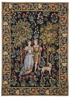At Hines of Oxford we have a superb range of tapestry wall hangings, fabrics, decorative cushions and early oak replica furniture in classic styles available to custom order. Medieval Tapestry, Medieval Art, Art Nouveau, Renaissance Kunst, Arts And Crafts Movement, Illuminated Manuscript, Middle Ages, Textile Art, Wall Tapestry