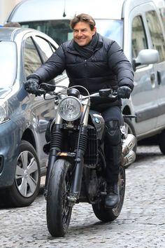 TC. MI6. Paris. Tom Crusie, Mission Impossible Fallout, Bmw Scrambler, Iron 883, Men's Toms, Motorcycle Design, Triumph Motorcycles, Gremlins, Choppers