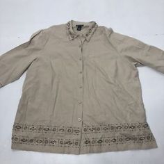 8e5be7a0a42 Women s Plus Size 3X 26 28 Maggie Barnes Linen Blend Bead Button Up Blouse  Shirt