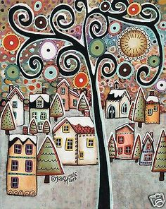 Winter Village 8x10 CANVAS PAINTING FOLK ART Abstract ORIGINAL Karla Gerard..beautiful new painting..for sale..buy it now..
