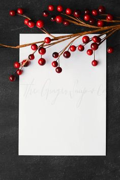 Vertical Red Berries and Stationary by The Ginger Snaps Co on @creativemarket |Styled stock photos |