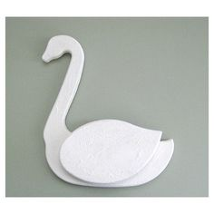 White Swan Decor Wall Pocket Wall Planter Wall Swan Decoration Nursery Shabby Chic Cottage Chic French Country Kitchen Wood Swan Wooden Swan ($13) found on Polyvore
