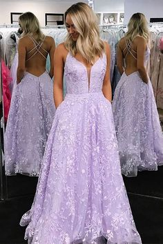 Lilac Prom Dresses with Appliques, Criss-Cross Straps Long Prom Dress, Sparkle Prom Dresses A-Line V-Neck Lilac Long Prom Dress with Appliques Backless Prom Dresses, Grad Dresses, Party Dresses, Dress Prom, Junior Prom Dresses, Cheap Prom Dresses, Club Dresses, Homecoming Dresses, Bridesmaid Dresses