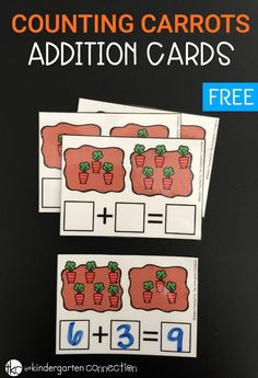 Practice addition with these free printable carrot counting addition cards! Practice math hands-on, without timed tests or flash cards.