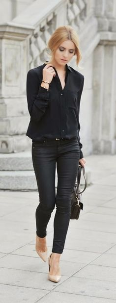 6775dec5 All Black Classic Street Chic Outfits Winter Outfits For Work, Summer  Office Outfits, Business