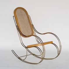 Rocking Chair in Metal & Cane, 1970s