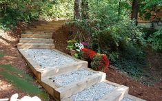 Home & Garden Sloped Garden, Cheap Home Decor, Home Decor Inspiration, Garden Bridge, Gardening Tips, Stepping Stones, Garden Design, Home And Garden, Backyard