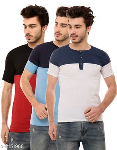 Tshirts Trendy Men's Cotton Blend Tshirts ( Pack Of 3) Fabric: Cotton Blend Sleeves: Half Sleeves Are Included Size: S M L XL (Refer Size Chart)  Length: Refer Size Chart Fit: Regular Fit Type: Stitched Description: It Has 3 Pieces of Men's T-Shirts Pattern: Solid Country of Origin: India Sizes Available: S, M, L, XL   Catalog Rating: ★4.2 (498)  Catalog Name: Stylish Trendy Men's Cotton Blend Tshirts Combo Vol 12 CatalogID_285522 C70-SC1205 Code: 934-2151988-5901