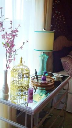 Modern Boho Teen Room, The only directive was that this teen loves purple. It combines a chic glamour meets boho vibe. This eclectic room is a perfect place for doing homework or hanging out with friends., Goodwill finds get new life with a can of spray paint and some tlc , Girls Rooms Design