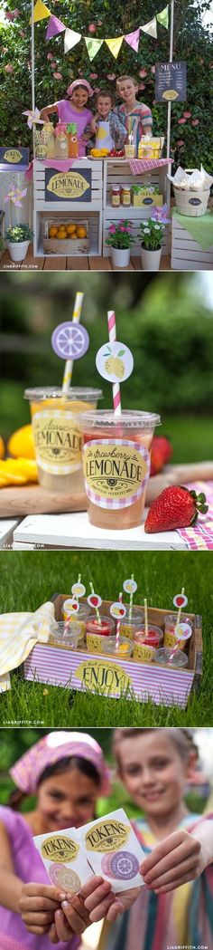 Have a lemonade stand party! I am doing this for our memorial day block party. Free printables for the lemonade stand.