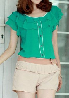 Only buy XL ladylike scoop neck bow layered flouncing short sleeves chiffon blouse for women Blouse Patterns, Blouse Designs, Online Blouse Shopping, Sammy Dress, Blouse Styles, Corsage, Shirt Blouses, Blouses For Women, Woman Clothing