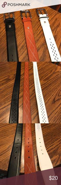 Tiger woods men's belt Tiger woods leather belts size 36 black, white, and tan Accessories Belts