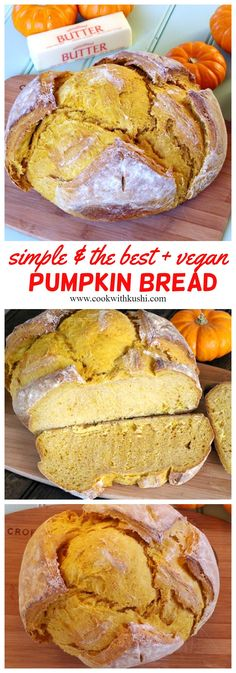 This hearty loaf of pumpkin bread has perfect balance of earthiness and flavor, warm color. ENjoy this bread with warm bowl of soup for dinner or with spread of butter for breakfast this thanksgiving and christmas #breadrecipes #homemadebread #pumpkinbread #pumpkinloaf #artisanbread #pumpkinpuree #fallfood #winterrecipes #thanksgivingdinner #christmasbreakfast #holidaybaking #holidayrecipes #Pumpkinrecipes #veganbaking #veganrecipes #vegandinner #veganbreakfast #easyrecipes #simplebread