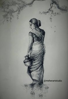 Beautiful Pencil Drawings, Abstract Pencil Drawings, Art Drawings Sketches Simple, Human Sketch, Pen Sketch, Fairy Drawings, Doodle Drawings, Bengali Art, Art Psychology