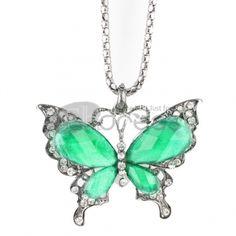 Green Butterfly diamond necklace