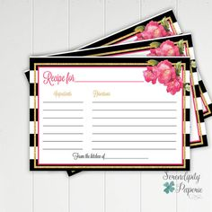 Stripes and flowers Recipe Card Bridal by SerendipityPaperieCo