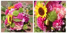 Blumenstrauß mit Hortensie, Sonnenblume, Dahlien, Rosen, Schleierkraut und grünen Bartnelken | bunch of flowers with hydrangea, sun flower, dahlia, roses, baby's breath and sweet william