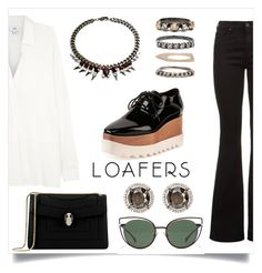"""""""Formal - Fall Footwear Trend: Loafers"""" by may-calista ❤ liked on Polyvore featuring STELLA McCARTNEY, AG Adriano Goldschmied, Vince, Bulgari, Fendi, Sharon Khazzam, Iosselliani, outfit, formal and loafers"""