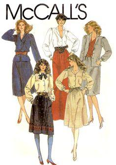 UNCUT 80s Vintage Blouse and Skirt Sewing by KeepsakesStudio