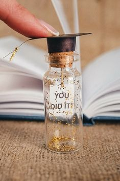 You did it! graduation gift grads gift for student college student gift congratulations gift unique graduation gift idea Highschool You did it! graduation gift for student, message in a bottle, college student gift, graduation cap, graduation gift idea Unique Graduation Gifts, College Graduation Gifts, Graduation Decorations, Grad Gifts, Diy Gifts, Unique Gifts, Graduation Message, Graduation Gift For Boyfriend, Graduation Centerpiece