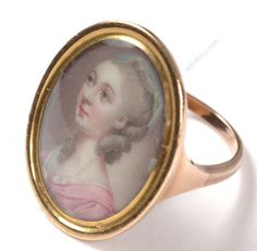 """Richard Crosse-Attrib. """"Gold finger ring with miniature portrait of a lady"""" #PortraitMiniatures"""
