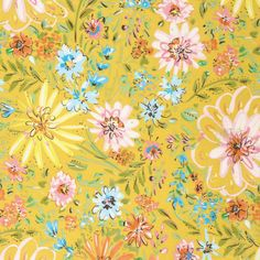 Yellow Watercolor Floral By Dena Designs  - 15yds, 100% Cotton, 44/45in