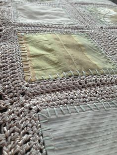 Detail of Fusion Blanket:  repurposed curtains and crochet.
