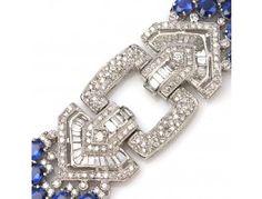 34.20 ctw Sapphire & 7.87 ctw Diamond 14K White Gold Bracelet