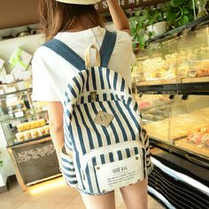 stacy bag hot sale best seller women printing backpack youth girl fashion stripe print canvas backpack lady casual travel bag $9.00