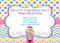 Printable Invitation, Bubblegum Birthday Collection-Little Birdie Notes