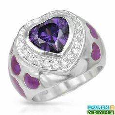 Amethyst & Diamonds Heart Ring