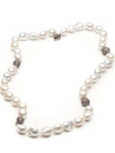 Bijoux De Mer White Pearl Necklace with Diamonds