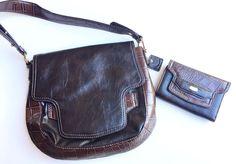 Liz Claiborne New York Brown Shoulder Bag And Wallet Set NWOT Faux Leather/croc    eBay