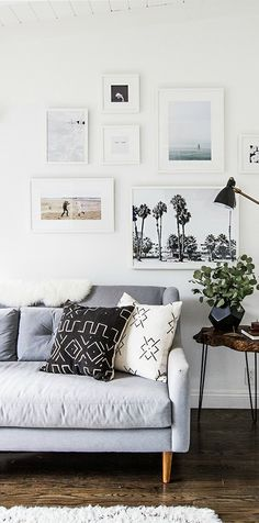 Who said gallery walls couldn't be cool and modern? Sarah, of Sarah Sherman Samuel, used a coat of Snow Fall on her walls to make her pictures really pop. The muted pastel and black-and-white images are further set off by bright white frames. See how you can get this bold look in your home today.
