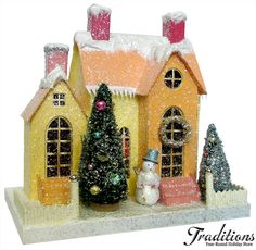 """Cody Foster Reproduction  ORANGE & YELLOW HOUSE W/SNOWMAN 84  Paper Pulp 13x12"""""""