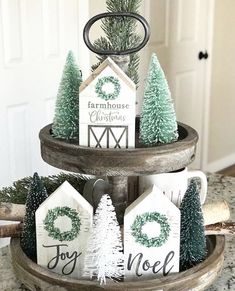 Farmhouse Tiered Tray by House on Wren with green bottle brush trees a. Christmas Farmhouse Tiered Tray by House on Wren with green bottle brush trees a.,Christmas Farmhouse Tiered Tray by House on Wren with green bottle . Farmhouse Christmas Decor, Rustic Christmas, Farmhouse Decor, Christmas Crafts, Christmas Decorations, Christmas Ornaments, Xmas, Christmas Wooden Signs, Modern Farmhouse