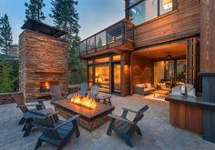 Mountain Home Exterior, Modern Mountain Home, Tiny House Cabin, Log Cabin Homes, Canoe House, Modern Patio, Modern House Design, Backyard Patio, Exterior Design