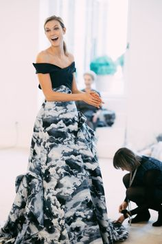 Karlie Kloss at her final fitting for Carolina Herrera Fall 2015