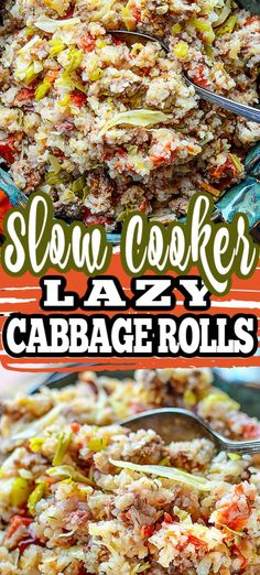 This easy recipe for SLOW COOKER LAZY CABBAGE ROLLS is made in the crockpot and is ready in 2-3 hours! All the elements of a traditional cabbage roll, with lots of flavour and comfort - yet convenience and less work involved.  #slowcookerrecipe #cabbagerolls #slowcooker