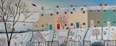 Large panoramic print on paper of row of cottages in the snow from an original acrylic painting 'Winter Row' by Jo Grundy British Countryside, House Drawing, Country Art, Winter Scenes, Home Art, Landscape Paintings, The Row, Giclee Print, Original Paintings